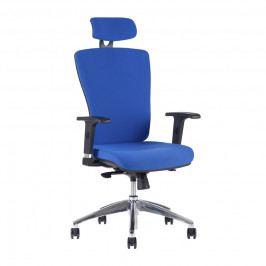 Kancelářské křeslo na kolečkách Office Pro HALIA CHR SP – s područkami a opěrkou hlavy Modrá