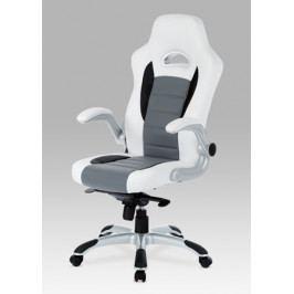 Hráčská židle na kolečkách Autronic KA-E240B WT – s područkami, bílá/černá/šedá