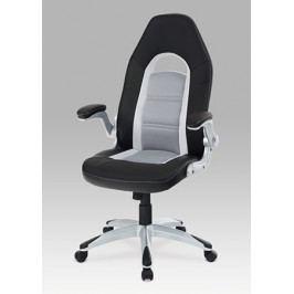 Kancelářská židle na kolečkách Autronic KA-T205 BK – sport. design, koženka, černá/šedá