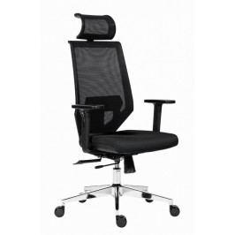 Kancelářská židle na kolečkách Antares EDGE – s područkami a opěrkou, černý sedák