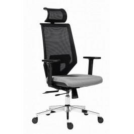 Kancelářská židle na kolečkách Antares EDGE – s područkami a opěrkou, šedý sedák