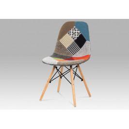 Jídelní čalouněná dřevěná židle Autronic CT-724 PW2 – bez područek, patchwork