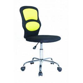 Dětská židle na kolečkách HORNET– černá/žlutá, bez područek