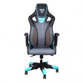 Herní židle na kolečkách E-Blue COBRA III – umělá kůže, černá/modrá