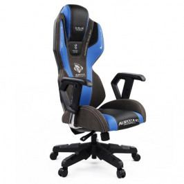 Herní židle E-Blue AUROZA s reproduktory – modrá, umělá kůže, podsvícená