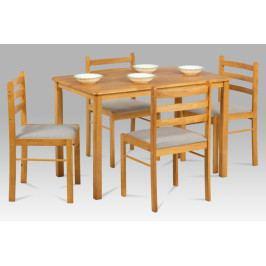 Jídelní set 1 + 4 ve skandinávském stylu – tmavý buk masiv, čalouněné židle