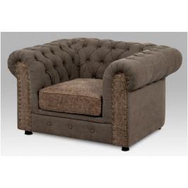 Designová retro sedačka AVA jednomístná - hnědá látka, ekokůže, nosnost 150 kg