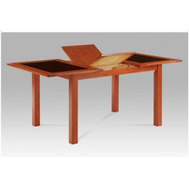 Jídelní rozkládací stůl VETRO – masiv třešeň, černé sklo, 130+46×90 cm