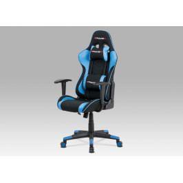 Herní židle na kolečkách ERACER V608 – černá/modrá, nosnost 130 kg