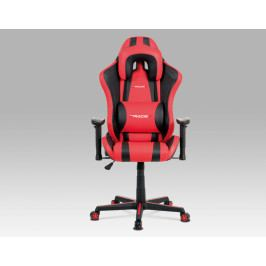 Herní židle na kolečkách ERACER V609 – červená/černá, PU kůže, nosnost 130 kg