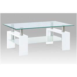 Konferenční stolek VALLO – sklo, bílá, 110×60×45