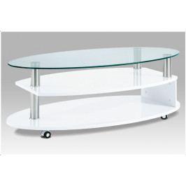 Konferenční stolek TERZETTO – sklo, bílá, 110×60×40