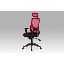 Kancelářská židle na kolečkách SPINE — červená, s bederní opěrkou i podhlavníkem