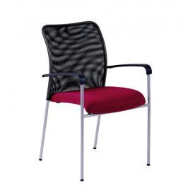 Jednací kovová židle Office Pro TRITON NET – s područkami, oranžová