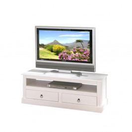TV stolek se dvěma zásuvkami IRA — masiv borovice, bílá, 118×36×45