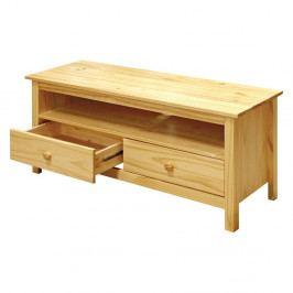 TV stolek se dvěma zásuvkami — masiv borovice, 110×39×47
