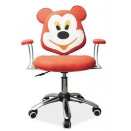 Dětská židle na kolečkách TEDDY — kov, ekokůže, červená