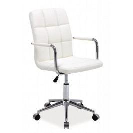 Dětská židle na kolečkách ERIN — chrom, ekokůže, bílá