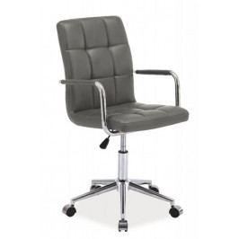 Dětská židle na kolečkách ERIN — chrom, ekokůže, šedá