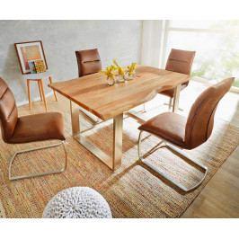 Jídelní stůl Akácie Masiv Natur 160x90 Silver