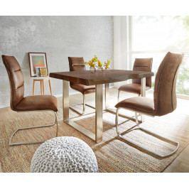 Jídelní stůl Akácie Masiv Maron 140x90 Silver