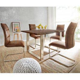 Jídelní stůl Akácie Masiv Maron 200x100 Silver