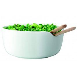 LSA Dine salátová porcelánová mísa bílá O24cm s dubovým příborem