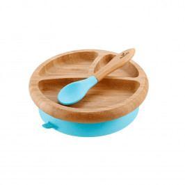Dětský bambusový talíř s přísavkou a lžičkou | modrá - Avanchy