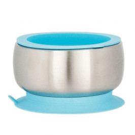 Dětská nerezová miska s přísavkou a víčkem | modrá - Avanchy