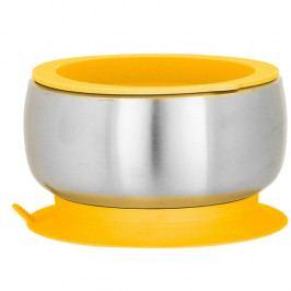 Dětská nerezová miska s přísavkou a víčkem | žlutá - Avanchy