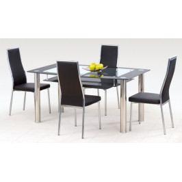 Jídelní stůl Cristal (ocel/sklo čiré/sklo černé)