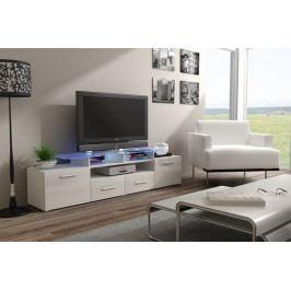 Evora - TV stolek (bílá/bílá lesk)
