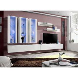 Fly E3 Stěna, 3x vitrína, 2x police, RTV (bílý mat/bílý lesk)