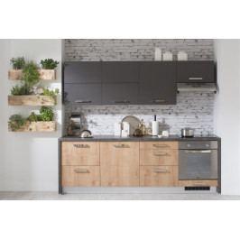 Kuchyně Zaria - 240 cm (dub arlington/grafit/sanduro antracit)