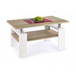 Konferenční stolek Diana (deska a police:dub sonoma/nohy:bílá)