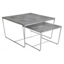 Konferenční stolek Stella - set 2 ks, stohovatelné (chrom/šedá)