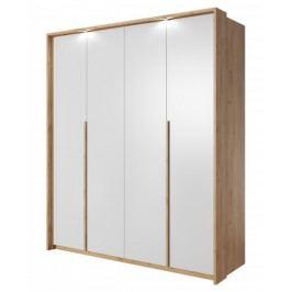Šatní skříň Xelo 185 cm (dub zlatý/bílá)