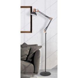 Stojací lampa Gareth, kovová, s pohyblivým ramenem, 172cm