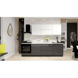 Kuchyně Nina - 260 cm (bílá vysoký lesk/šedá vysoký lesk)