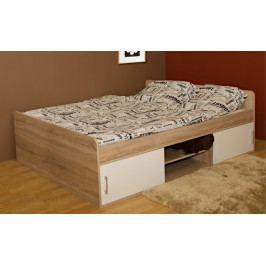 Dřevěná postel Sáva II 120x200 cm, dub, bílá,s úložným prostorem