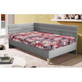 Válenda Suphra 110x200, šedá/červená, vč. matrace, roštu a úp