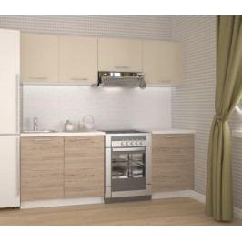 Kuchyně Katia - 220 cm (béžová/dub san marino)