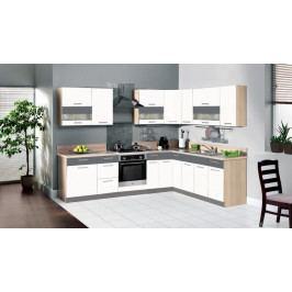 Kuchyně Marina 285x210 cm (bílá vysoký lesk/grafit)
