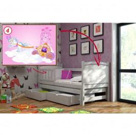 Dětská postel s výsuvnou přistýlkou DPV 005 - 04) Kočár