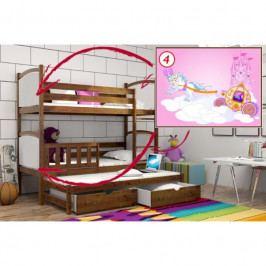 Patrová postel s výsuvnou přistýlkou PPV 005 - 04) Kočár