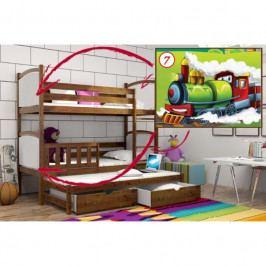 Patrová postel s výsuvnou přistýlkou PPV 005 - 07) Lokomotiva