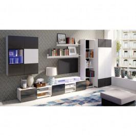 dodání 30 dní - Stylový nábytek do obýváku GORDIA sestava 7 bílý+černý