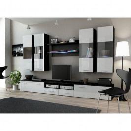dodání 30 dní - Stylová obývací stěna DREAM 1C Černý / Bílý lesk