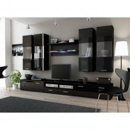 dodání 30 dní - Tmavá obývací stěna DREAM 1D Černý / Černý lesk