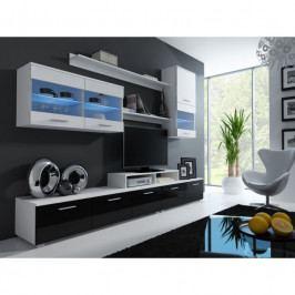 dodání 30 dní - Luxusní obývací stěna LOGO 2A Bílý / Černý lesk